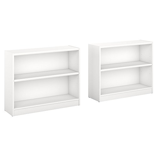 Bush Furniture Universal 2 Shelf Bookcase Set of 2 in Pure White