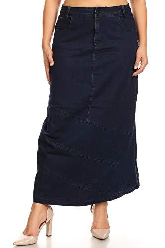 Women's Plus Size High Rise Pencil Long Jeans Maxi Denim Skirt in Navy Size 1XL ()