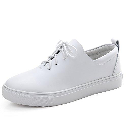 Primavera Zapatos Mujer Casual,Manoletinas,Zapatos De Cuero Blanco De Jurchen,Zapatos Ocasionales Del Estudiante Coreano A