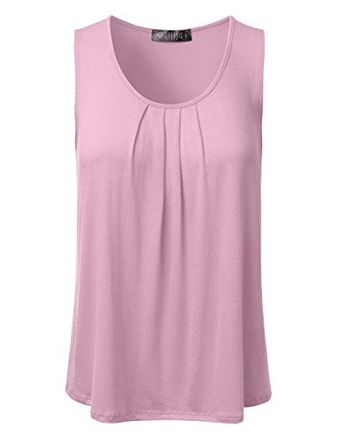 DRESSIS Women's Basic Soft Pleated Scoop Neck Sleeveless Loose Fit Tank (Pink Scoop Neck Top)