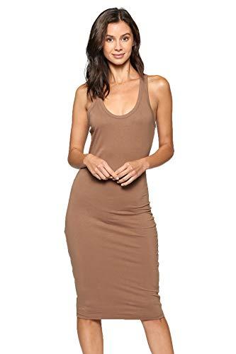 LaClef Women's Sleeveless Basic Racer Back Tank Midi Cotton Casual Dress (Mocha, XL) ()