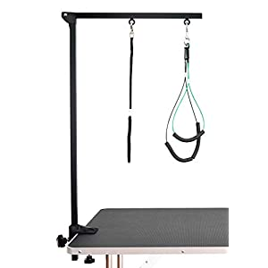 SHELANDY Pet Grooming arm with clamp for Large and Small Dogs - 35 inch Height Adjustable and Free Two No Sit Haunch Holder (Black) 83