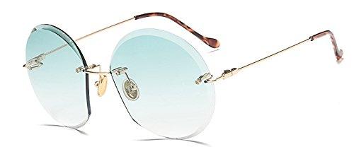 dise Gafas Hykis marca ador de sin montura de degradado Mujeres de marco la de anteojos sol oval Oculos verde la sol sin Gafas vendimia Gafas gafas de de rr0PRqw