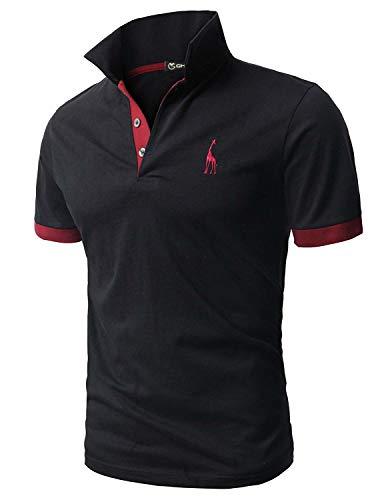 GHYUGR Poloshirt Herren Einfarbig Stickerei Kurzarm Polohemd S-XXL