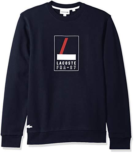 Lacoste Men's Crew Neck Print Fleece Sweatshirt, Navy Blue/White, XXX-Large