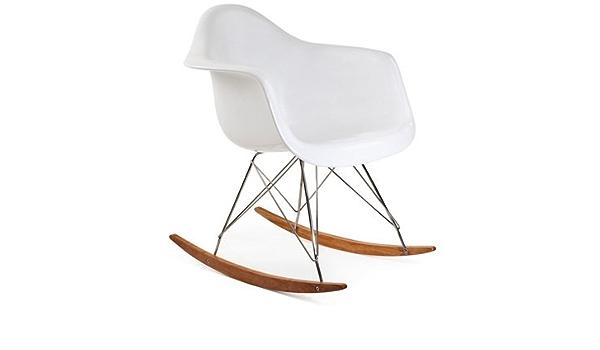 Amazon Com Ariel Rar Plastic Rocking Chair With Wood Eiffel Legs In White Chairs