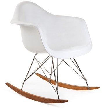 Ariel RAR Plastic Rocking Chair With Wood Eiffel Legs In White