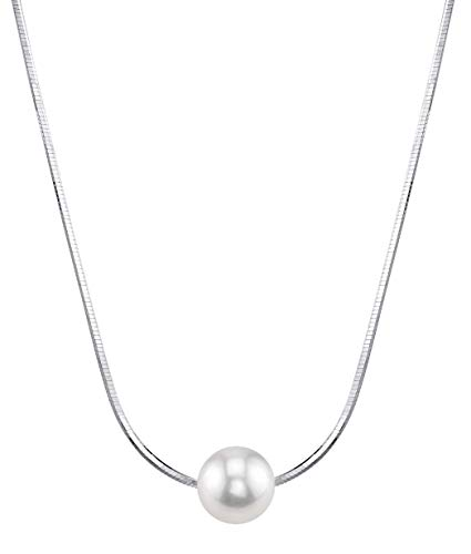 PEARL MOMENTS BY THE PEARL SOURCE 7-8mm AAAA Quality Round White Freshwater Cultured Pearl Chain Build-A-Pearl Necklace for Women, 1 Pearl ()