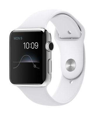 Apple Watch 42mm Stainless Steel Case White Sport Band