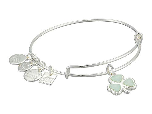 - Alex and Ani Women's Charity by Design Crystal Shamrock Bangle Bracelet, Shiny Silver