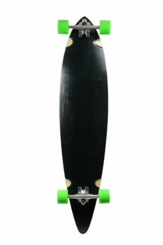 SCSK8 Natural Blank & Stained Complete Longboard Pintail Skateboard (Black, 40
