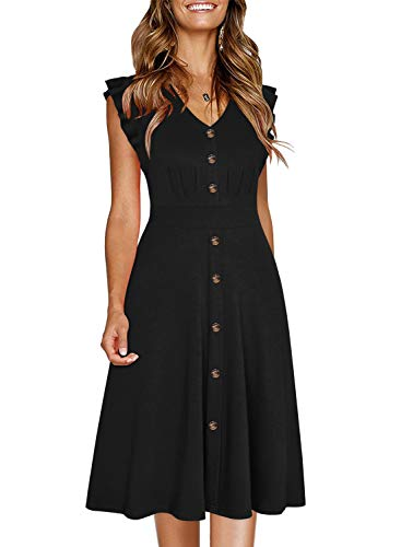 Ranphee Womens Black Ruffle-Frame Sleeveless V Neck Cotton A-Line Button Down Dress