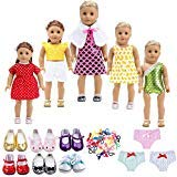TOYYSB 18 Inch Doll Clothes&Accessories , Include 5 Set Toys Doll Outfits + 2 Pairs Doll Shoes +2...