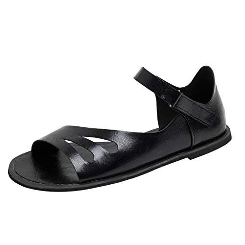 Ankle Janet Boots & - Women Sandals, LIM&Shop  Casual Flats Leather Ankle Strap Low Heel Beach Slipper Roman Sandals Cut Out Shoes Peep Toe Black