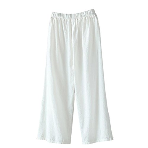 Casual Misses Pants (Women's Palazzo Pants,High Waist Wide Leg Culottes Cotton Linen Loose Trousers by-NEWONESUN)