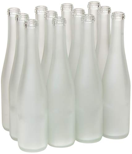 (North Mountain Supply 375ml Frosted Glass Stretch Hock Wine Bottle Flat-Bottomed Cork Finish - Case of 12)
