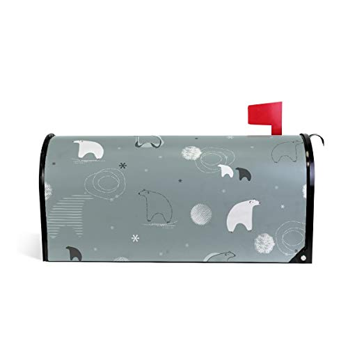 Senuu Polar Bear Wall Magnetic Mailbox Cover Mailwraps for Medium Large Post-Mount Mail Box -
