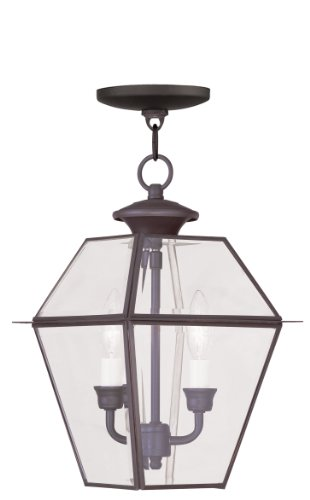 (Livex Lighting 2285-07 Westover 2-Light Outdoor Hanging Lantern, Bronze)