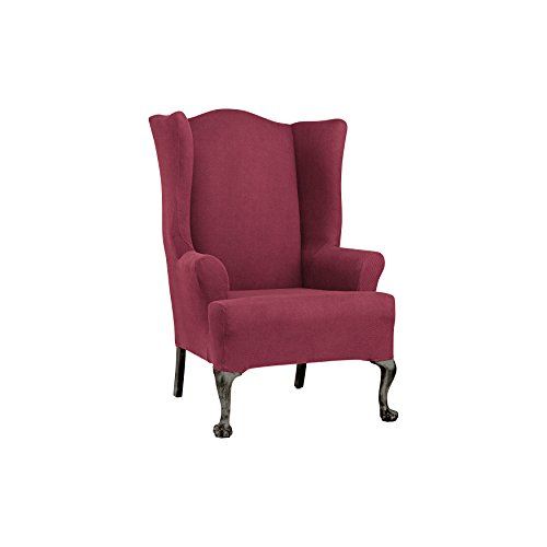 SureFit Simple Stretch Twill  - Wing Chair Slipcover  - Burgundy (SF44474) ()