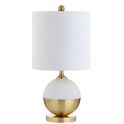 """Carr 23.5"""" Ceramic/Metal LED Table Lamp, White/Brass, Modern, Contemporary, Bulb Included"""