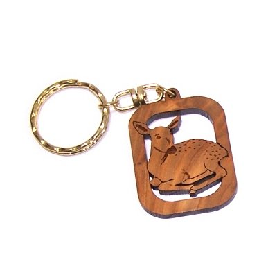 Fawn or Deer - Bambi - Olive wood Keys Chain (3.8cm cm or (Hardwood Fawn)