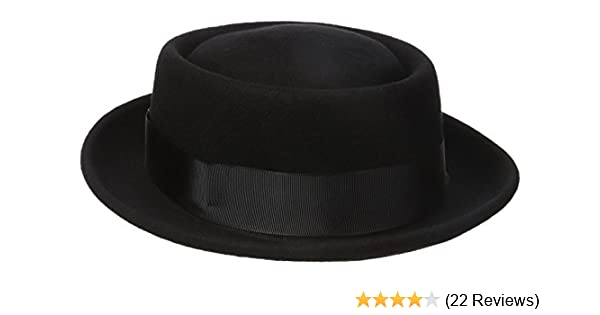 Henschel Mens 100/% Wool Felt Porkpie Hat and Grosgrain Ribbon Band and Bow