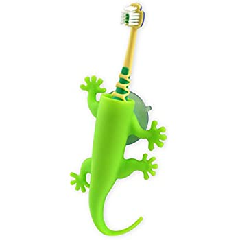 j-me Wall Mounted Toothbrush Holder - Kids Bathroom Tidy, Larry The Lizard, Green