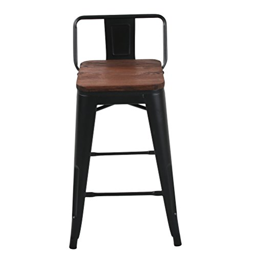 Changjie Furniture Low Back Metal Bar Stool for Indoor-Outdoor Kitchen Counter Bar Stools Set of 4 (24 inch, Low Back Black with Wooden Top)