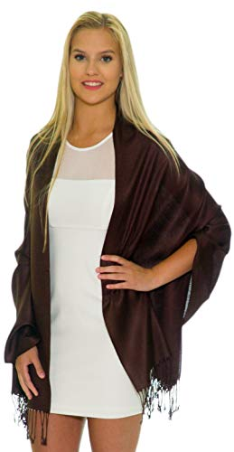 Pashmina Shawls and Wraps - Large Scarfs for Women - Party Bridal Long Fashion Shawl Wrap with Fringe Petal Rose Brown