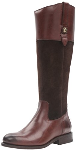 FRYE Women's Jayden Button Tall Leather and Suede Riding Boot, Chocolate, 9.5 M US