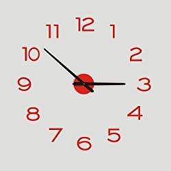 FortuneVin Wall Clock Silent movement Wall Clock Home Office Decor for Living Room Bedroom and Kitchen Clock Wall 20-Inch Modern Simple Mute Creative Metal Diy Decor, Red
