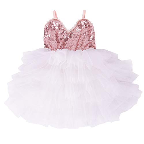 Cilucu Girls Dress Toddler Kids Party Dress Sequin Tutu Pageant Lace Dresses Gown for Flower Girl Baby Rose Gold/White 2T-3T