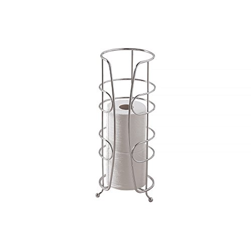 mDesign Free Standing Toilet Paper Holder for Bathroom Storage - Chrome (Chrome Toilet Paper Caddy)