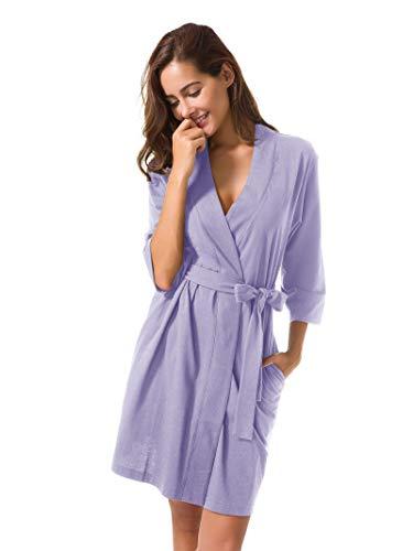 SIORO Kimono Robe Plus Size Soft Lightweight Robes Cotton Nightshirts V-Neck Sexy Nightwear Dress Knit Bathrobe Loungewear Short for Women Lilac - Robe Aegean