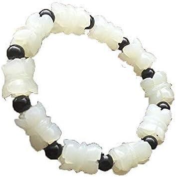 Collar de Moda para Mujer Brazalete de Jade Blanco Mano-Tallado, Pulido Pulsera Natural de Xinjiang Hetian Jade Pulsera Blanca Hombres Mujeres Lotus Izar