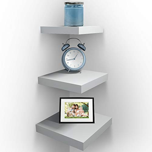 Sorbus Wall Mount Corner Shelves, Square Hanging Wall Shelves Decoration, Perfect Trophy Display, Photo Frames, Home Décor, Set of 3 (White) (Decoration Corner Pieces)
