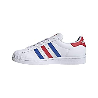 adidas Originals Men's Super Star Sneaker, White/Blue/Team Collegiate Red, 15