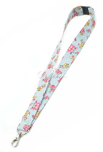 Breakaway Lanyard Classic Floral Fabric neck strap Key Chain for ID badge holder / Cell Phone / Key Holder / USB (Light Blue)