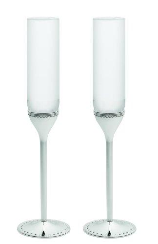 Vera Wang Wedgwood Grosgrain Silver Plate Toasting Flute Pair Vera Wang Crystal Goblet