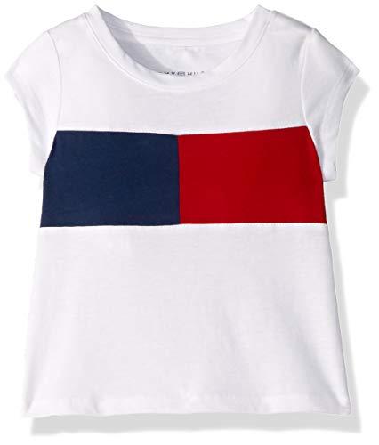 Tommy Hilfiger Little Girls' Core Short Sleeve Scoop Neck Tee Shirt, White, 6X