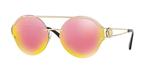 Versace Women's VE2184 Pale Gold/Grey Mirror Yellow Rose One ()