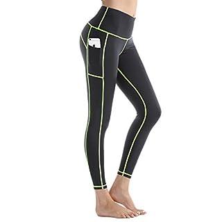 Rocorose Women's Workout Leggings Tummy Control Color Block Phone Pockets Gym Pants Grey Green S