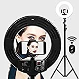 Ring Light GVM Ultra Slim-18 inch LED with Light Stand 3200K -5600K Lighting Kit for Makeup,Camera Smart phone YouTube Video Shooting, Photography Lighting, Phone Holder, Hot Shoe Adapter,Receiver