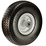 Semi Pneumatic Flat Free Tire 10'' x 3'' Hand Truck Wheel - 2.25'' Offset Hub - 5/8'' Axle - 280 lbs Capacity