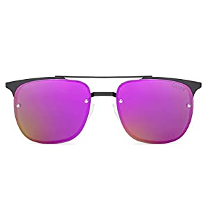 Quay Australia PRIVATE EYES Women's Sunglasses Metal Winged Frame - Black/Purple