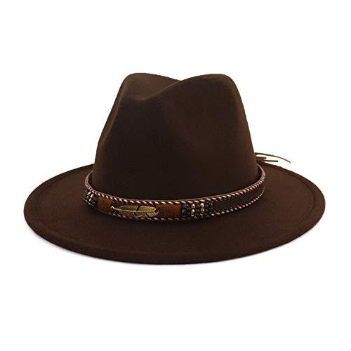 Vim Tree Men Women Ethnic Felt Fedora Hat Wide Brim Panama Hats with Band Coffee M (Head Circumference - Hat Felt Trilby