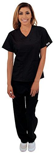Dress A Med Women's Cross Button Mock Wrap 2 Piece set Black 3XL