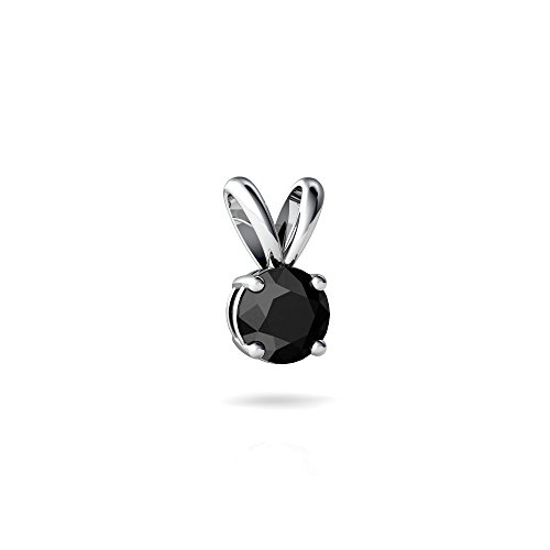 14kt White Gold Black Onyx 5mm Round Solitaire Pendant