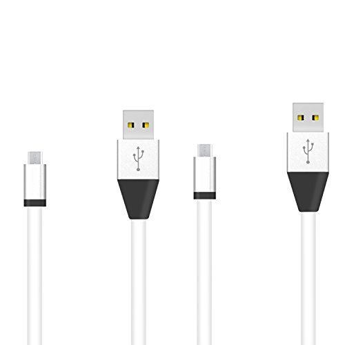 2PCS 1M Flat Noodle Micro USB Data Sync Charger Cable w/ Aluminum Head Connector for Samsung S3 S4 S6 Note 4 IV and other Micro USB compatible devices - White