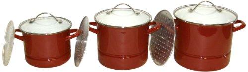 Dr. Cook 92633 Steel Pots, Red Enamel
